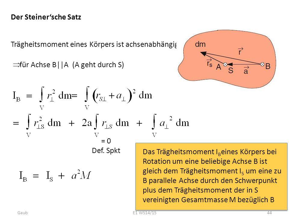 Der Steiner'sche Satz Trägheitsmoment eines Körpers ist achsenabhängig  für Achse B||A (A geht durch S) Das Trägheitsmoment I B eines Körpers bei Rot