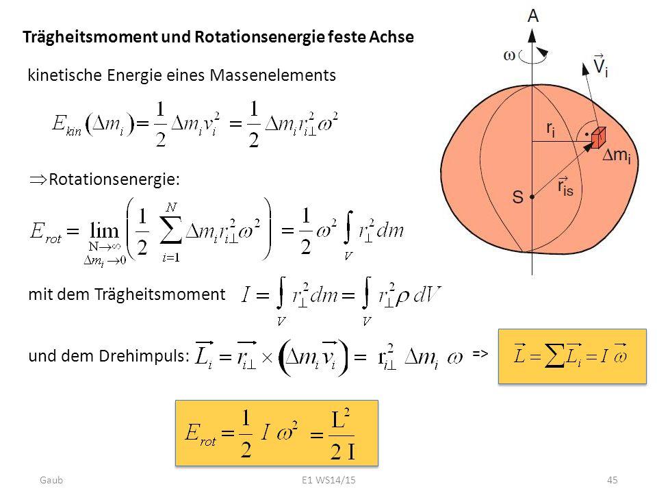 Trägheitsmoment und Rotationsenergie feste Achse kinetische Energie eines Massenelements  Rotationsenergie: mit dem Trägheitsmoment und dem Drehimpul