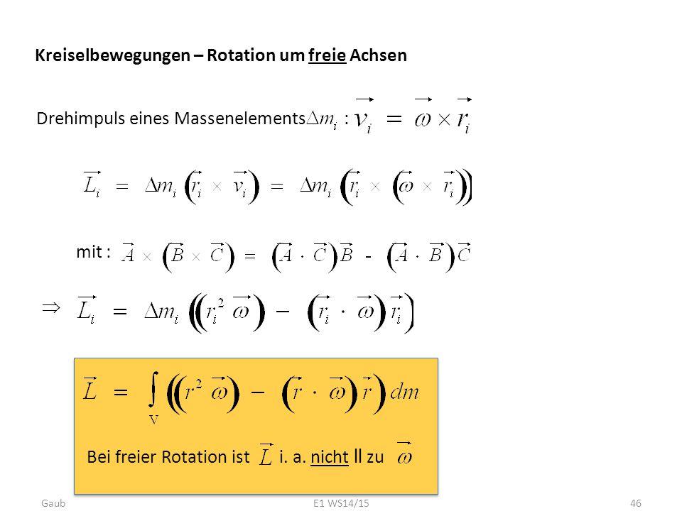 Kreiselbewegungen – Rotation um freie Achsen Drehimpuls eines Massenelements :  mit : Bei freier Rotation ist i. a. nicht ll zu Gaub46E1 WS14/15
