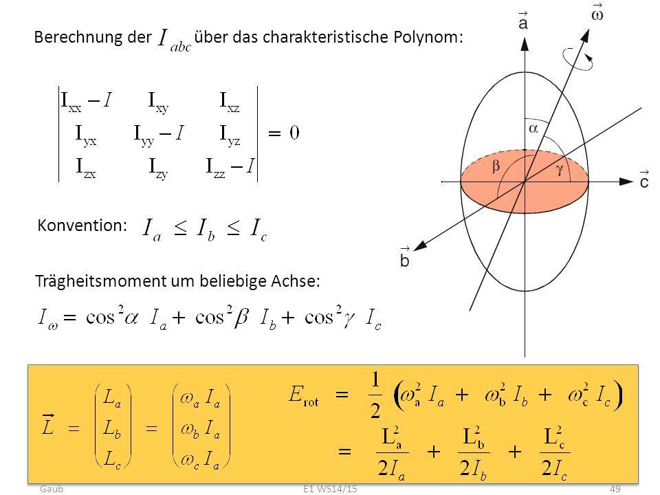 Berechnung der über das charakteristische Polynom: Konvention: Trägheitsmoment um beliebige Achse: Gaub49E1 WS14/15