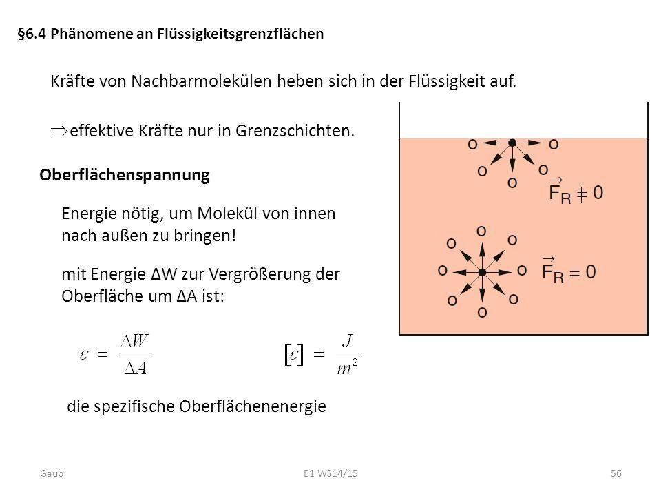 §6.4 Phänomene an Flüssigkeitsgrenzflächen Oberflächenspannung  effektive Kräfte nur in Grenzschichten. Kräfte von Nachbarmolekülen heben sich in der