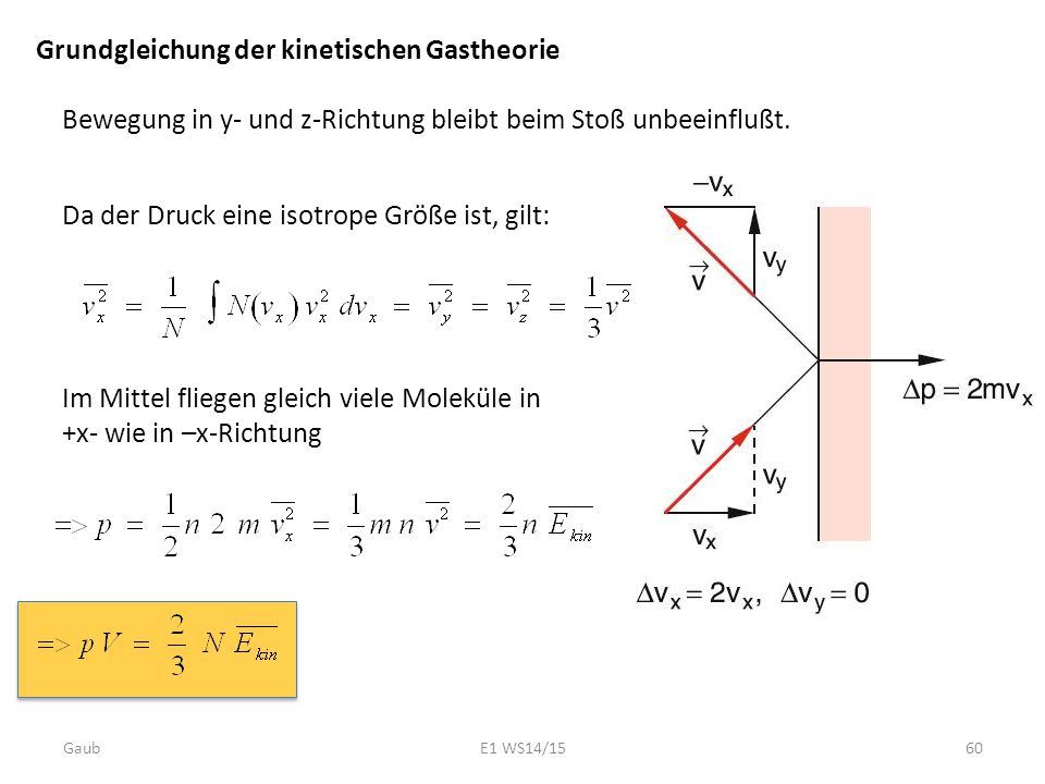 Grundgleichung der kinetischen Gastheorie Bewegung in y- und z-Richtung bleibt beim Stoß unbeeinflußt. Da der Druck eine isotrope Größe ist, gilt: Im