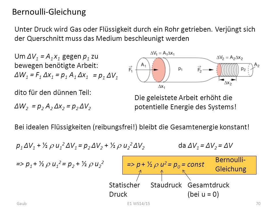 Bernoulli-Gleichung Unter Druck wird Gas oder Flüssigkeit durch ein Rohr getrieben. Verjüngt sich der Querschnitt muss das Medium beschleunigt werden