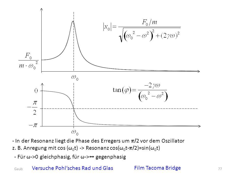 - In der Resonanz liegt die Phase des Erregers um  2 vor dem Oszillator z. B. Anregung mit cos (  0 t) -> Resonanz cos(  0 t-  2)=sin(  0 t) -