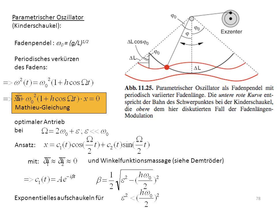 Mathieu-Gleichung Parametrischer Oszillator (Kinderschaukel): Fadenpendel :   = (g/L) 1/2 Periodisches verkürzen des Fadens: optimaler Antrieb bei
