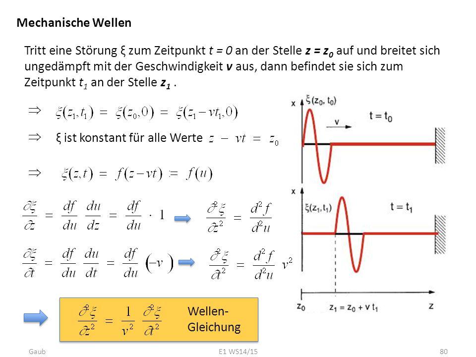 Mechanische Wellen Tritt eine Störung ξ zum Zeitpunkt t = 0 an der Stelle z = z 0 auf und breitet sich ungedämpft mit der Geschwindigkeit v aus, dann