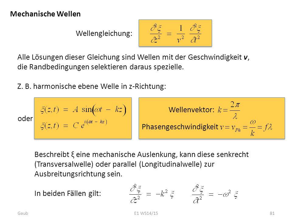 Mechanische Wellen Wellengleichung: Alle Lösungen dieser Gleichung sind Wellen mit der Geschwindigkeit v, die Randbedingungen selektieren daraus spezi