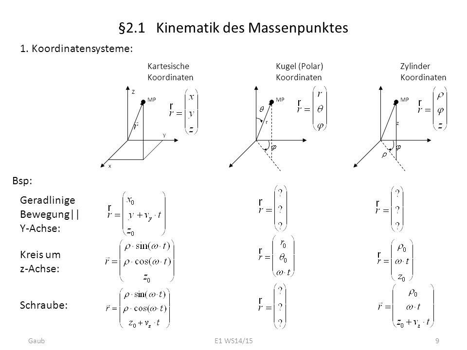 §2.1 Kinematik des Massenpunktes 1. Koordinatensysteme: Z x y MP Kartesische Koordinaten MP Kugel (Polar) Koordinaten r MP Zylinder Koordinaten z Bsp: