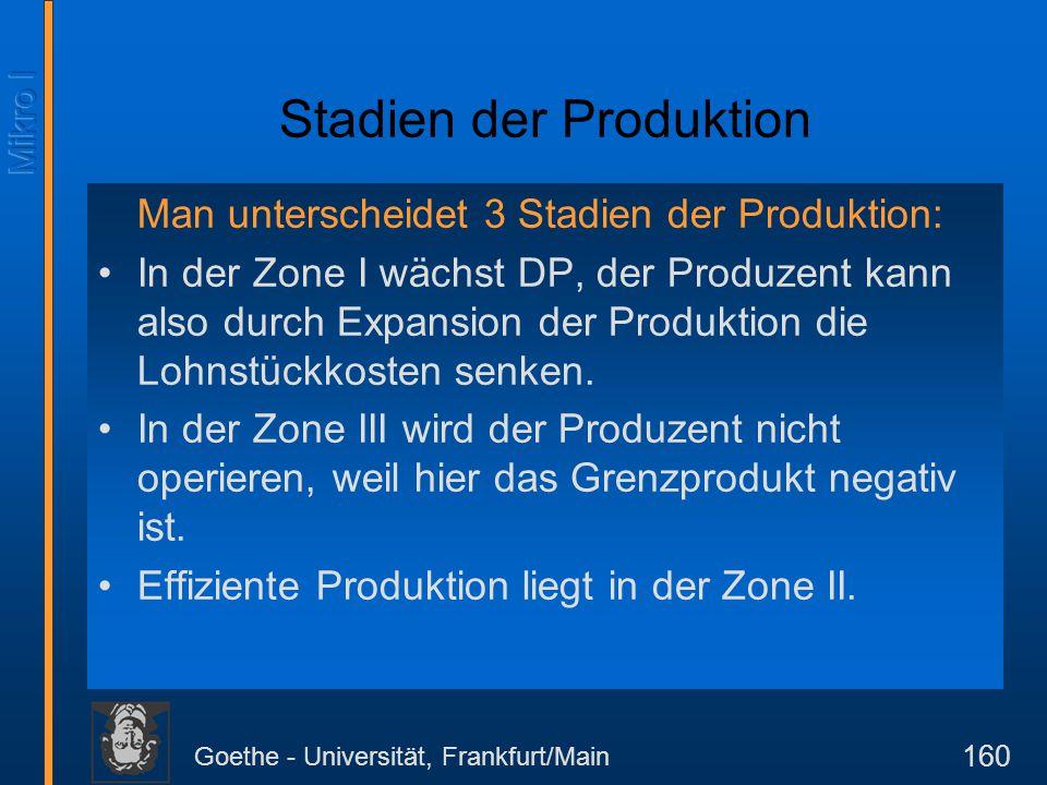 Goethe - Universität, Frankfurt/Main 160 Stadien der Produktion Man unterscheidet 3 Stadien der Produktion: In der Zone I wächst DP, der Produzent kan
