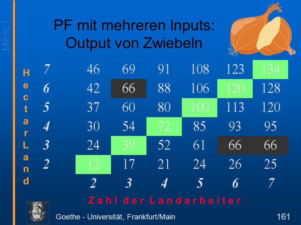 Goethe - Universität, Frankfurt/Main 161 PF mit mehreren Inputs: Output von Zwiebeln HectarLandHectarLand Z a h l d e r L a n d a r b e i t e r