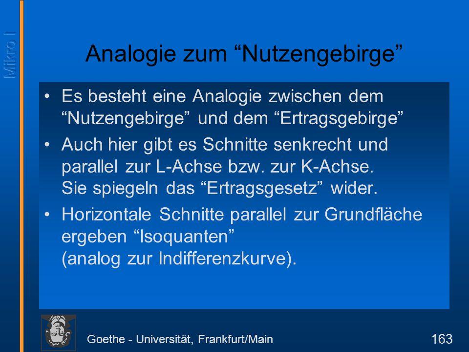 """Goethe - Universität, Frankfurt/Main 163 Analogie zum """"Nutzengebirge"""" Es besteht eine Analogie zwischen dem """"Nutzengebirge"""" und dem """"Ertragsgebirge"""" A"""