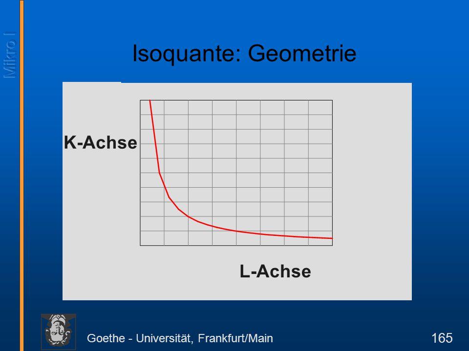 Goethe - Universität, Frankfurt/Main 165 L-Achse Isoquante: Geometrie K-Achse