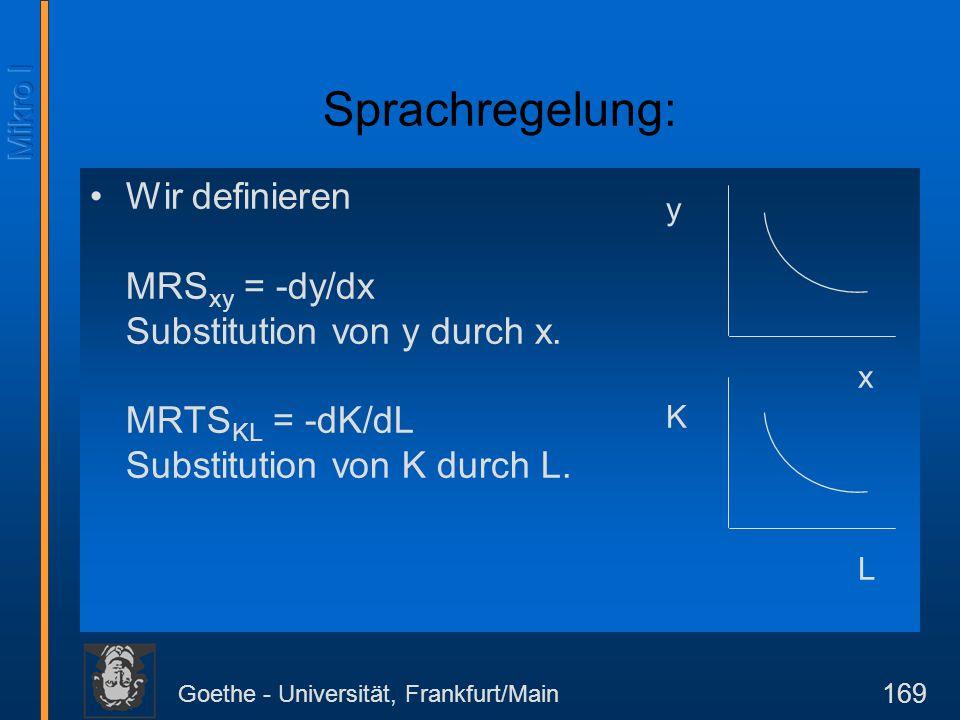 Goethe - Universität, Frankfurt/Main 169 Wir definieren MRS xy = -dy/dx Substitution von y durch x. MRTS KL = -dK/dL Substitution von K durch L. y K x