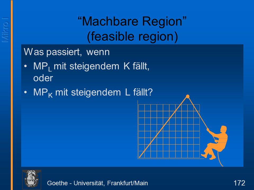 """Goethe - Universität, Frankfurt/Main 172 Was passiert, wenn MP L mit steigendem K fällt, oder MP K mit steigendem L fällt? """"Machbare Region"""" (feasible"""