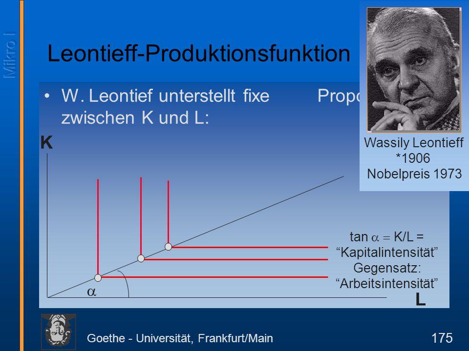 """Goethe - Universität, Frankfurt/Main 175 W. Leontief unterstellt fixe Proportionen zwischen K und L: K L  tan  K/L = """"Kapitalintensität"""" Gegensat"""