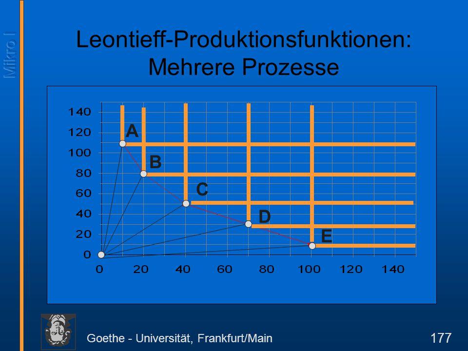Goethe - Universität, Frankfurt/Main 177 D C A B E Leontieff-Produktionsfunktionen: Mehrere Prozesse