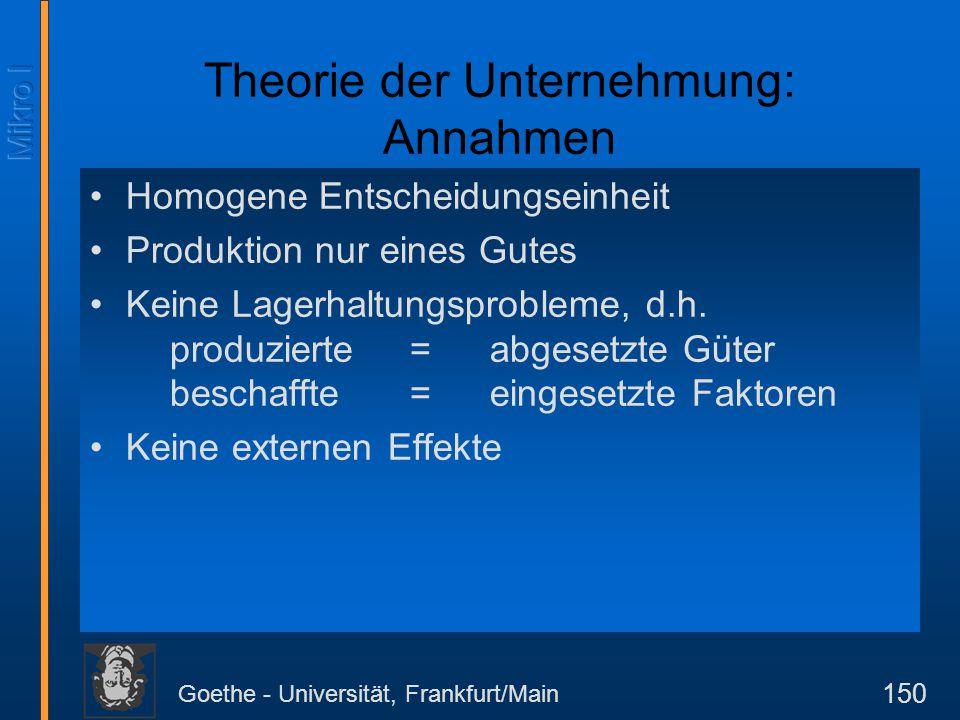 Goethe - Universität, Frankfurt/Main 150 Theorie der Unternehmung: Annahmen Homogene Entscheidungseinheit Produktion nur eines Gutes Keine Lagerhaltun