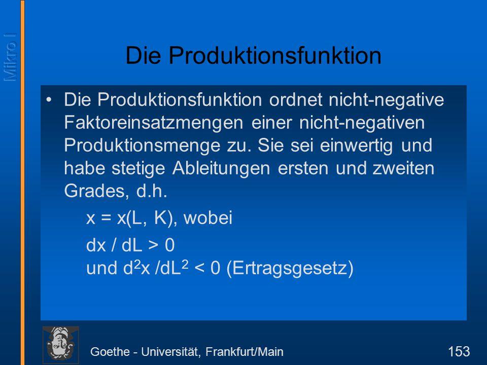Goethe - Universität, Frankfurt/Main 154 Produktion mit nur einem variablen Einsatzfaktor Wir nehmen an, es gäbe nur einen variablen Input (i.a.