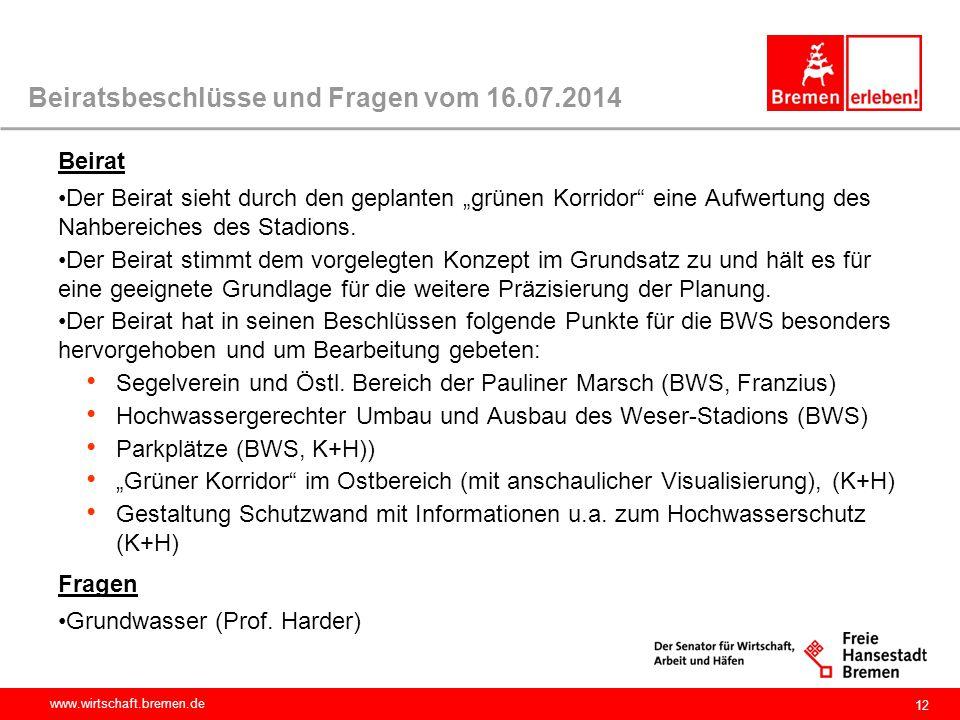 """www.wirtschaft.bremen.de 12 Beiratsbeschlüsse und Fragen vom 16.07.2014 Beirat Der Beirat sieht durch den geplanten """"grünen Korridor"""" eine Aufwertung"""
