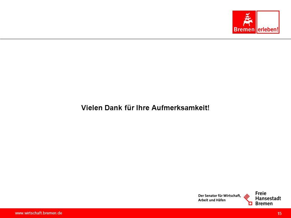 www.wirtschaft.bremen.de Vielen Dank für Ihre Aufmerksamkeit! 15