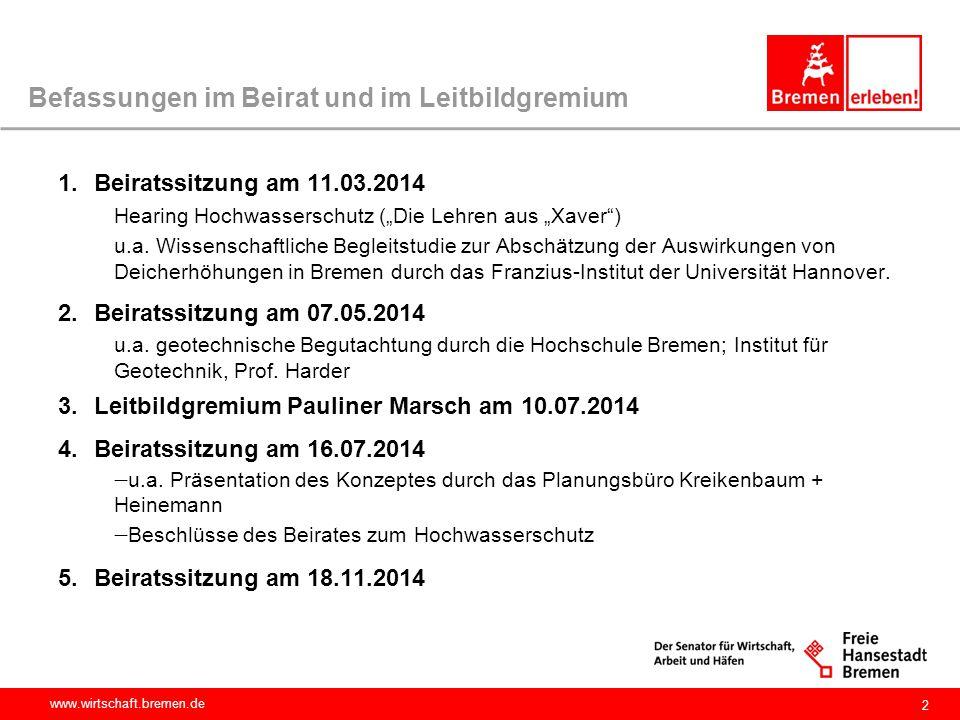 """www.wirtschaft.bremen.de 2 Befassungen im Beirat und im Leitbildgremium 1.Beiratssitzung am 11.03.2014 Hearing Hochwasserschutz (""""Die Lehren aus """"Xave"""