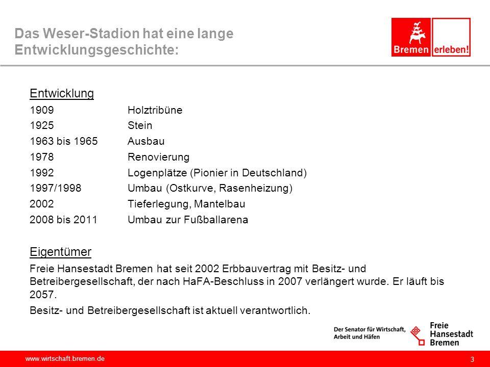 www.wirtschaft.bremen.de 4 Das Weserstadion wird professionell betrieben: seit 2002: Bremer Weser-Stadion GmbH (BWS) Gegenstand: Betrieb und Unterhaltung des Weser-Stadions Gesellschafter: WFB und Werder mit je 50% Ressort: Wirtschaft, Aufsichtsratsvorsitz wechselt, zur Zeit Staatsrat Dr.