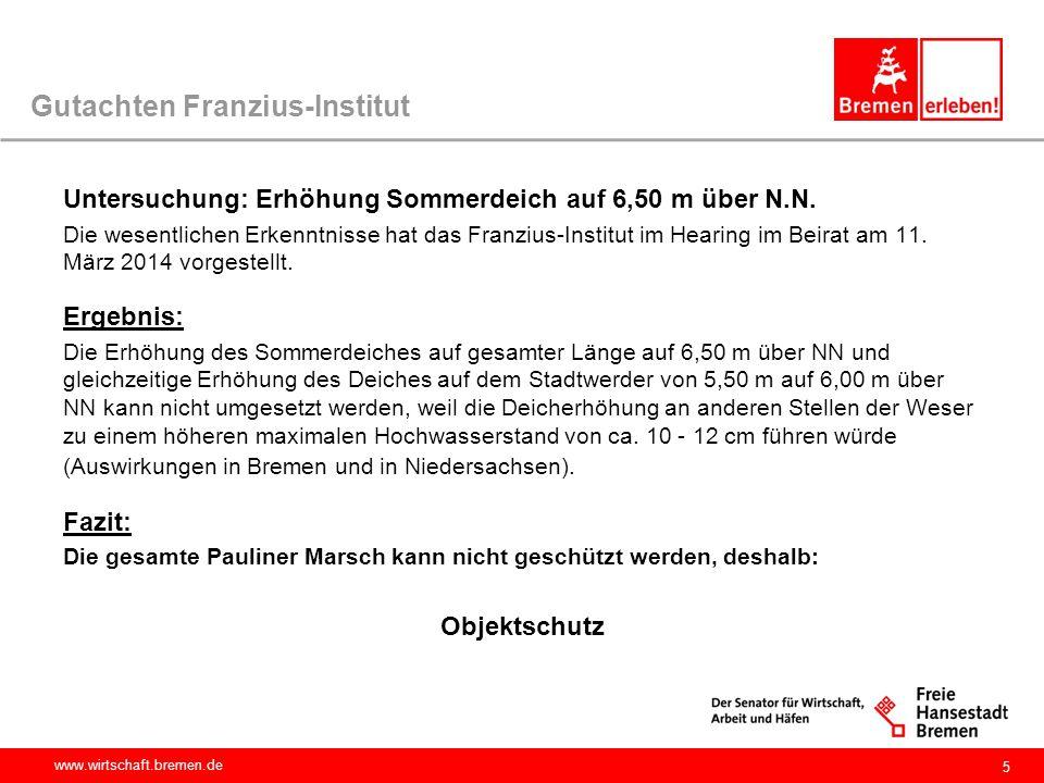 www.wirtschaft.bremen.de Gutachten Franzius-Institut Untersuchung: Erhöhung Sommerdeich auf 6,50 m über N.N. Die wesentlichen Erkenntnisse hat das Fra
