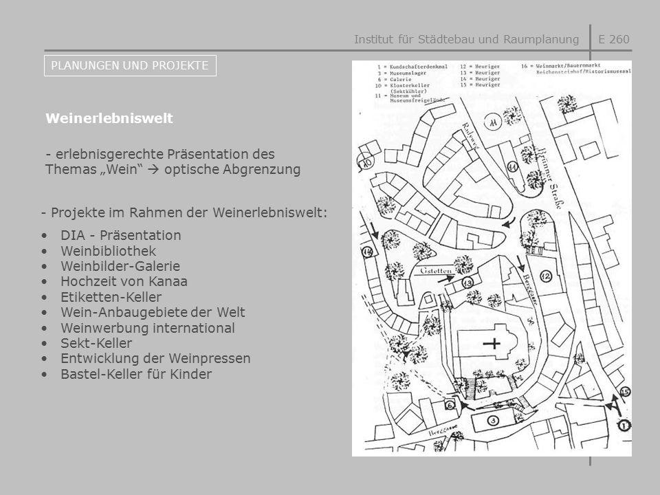E 260 PLANUNGEN UND PROJEKTE Weinerlebniswelt - Projekte im Rahmen der Weinerlebniswelt: DIA - Präsentation Weinbibliothek Weinbilder-Galerie Hochzeit