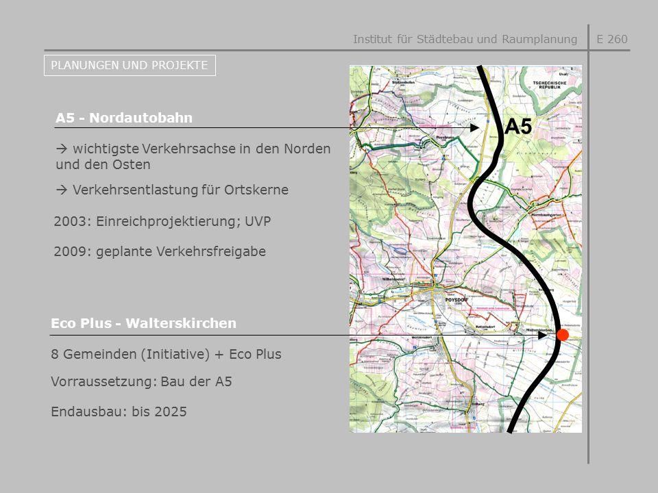 E 260 PLANUNGEN UND PROJEKTE A5 - Nordautobahn Eco Plus - Walterskirchen  wichtigste Verkehrsachse in den Norden und den Osten 8 Gemeinden (Initiativ