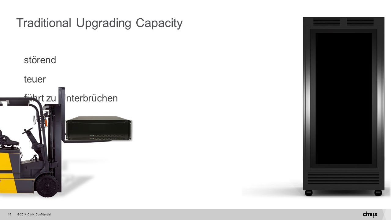 © 2014 Citrix. Confidential.15 Traditional Upgrading Capacity störend teuer führt zu Unterbrüchen