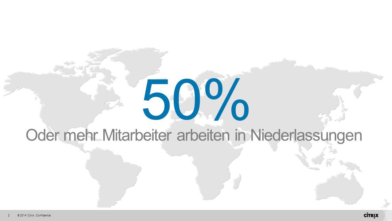 © 2014 Citrix. Confidential.2 Oder mehr Mitarbeiter arbeiten in Niederlassungen 50%