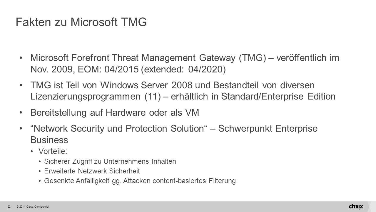 © 2014 Citrix. Confidential.22 Fakten zu Microsoft TMG Microsoft Forefront Threat Management Gateway (TMG) – veröffentlich im Nov. 2009, EOM: 04/2015