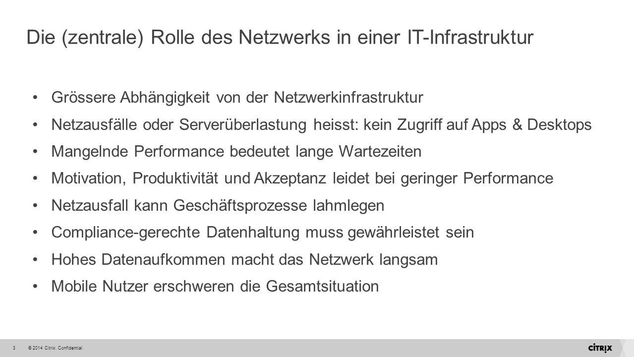 © 2014 Citrix. Confidential.3 Die (zentrale) Rolle des Netzwerks in einer IT-Infrastruktur Grössere Abhängigkeit von der Netzwerkinfrastruktur Netzaus