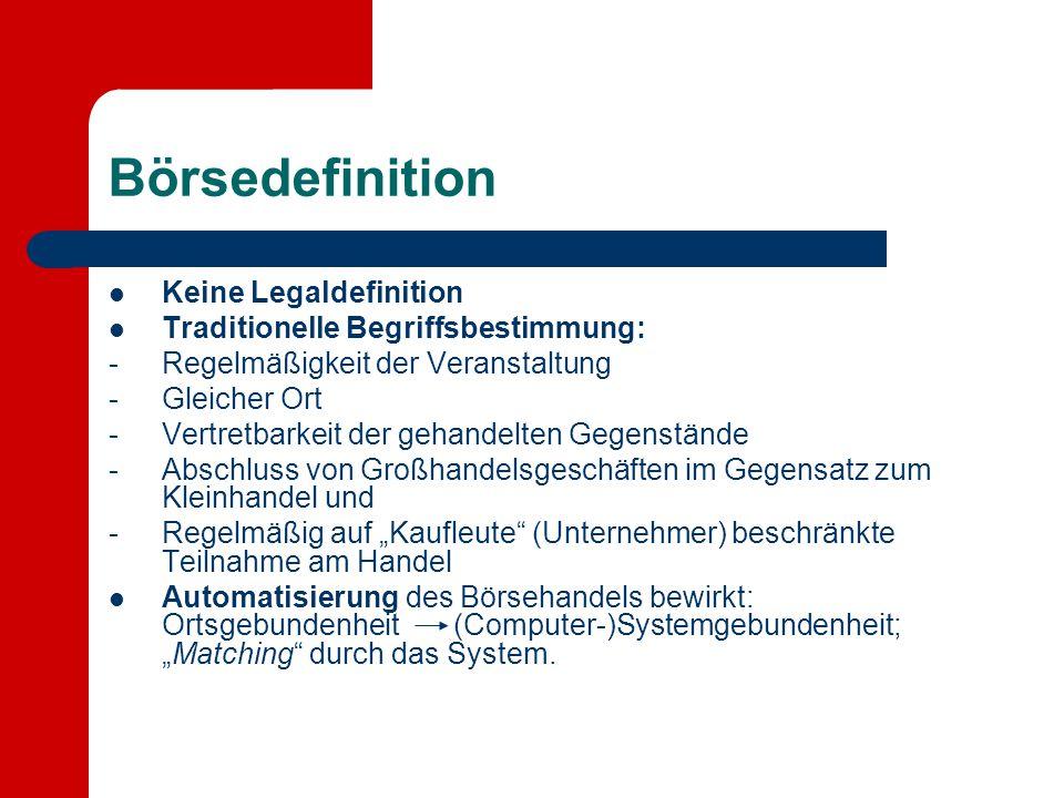 Börsedefinition Keine Legaldefinition Traditionelle Begriffsbestimmung: -Regelmäßigkeit der Veranstaltung -Gleicher Ort -Vertretbarkeit der gehandelte