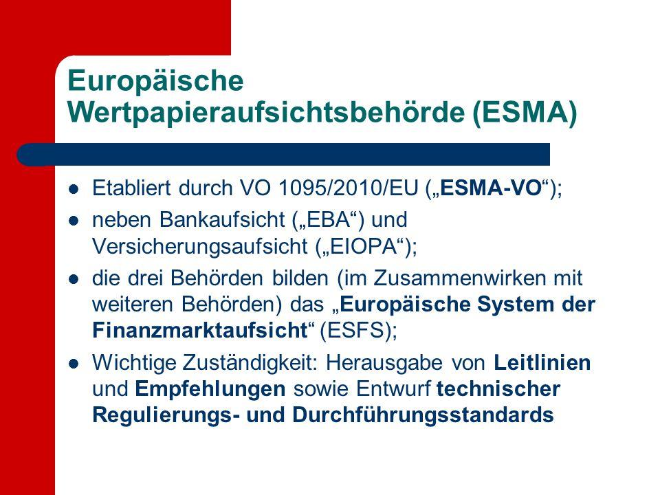"""Europäische Wertpapieraufsichtsbehörde (ESMA) Etabliert durch VO 1095/2010/EU (""""ESMA-VO""""); neben Bankaufsicht (""""EBA"""") und Versicherungsaufsicht (""""EIOP"""