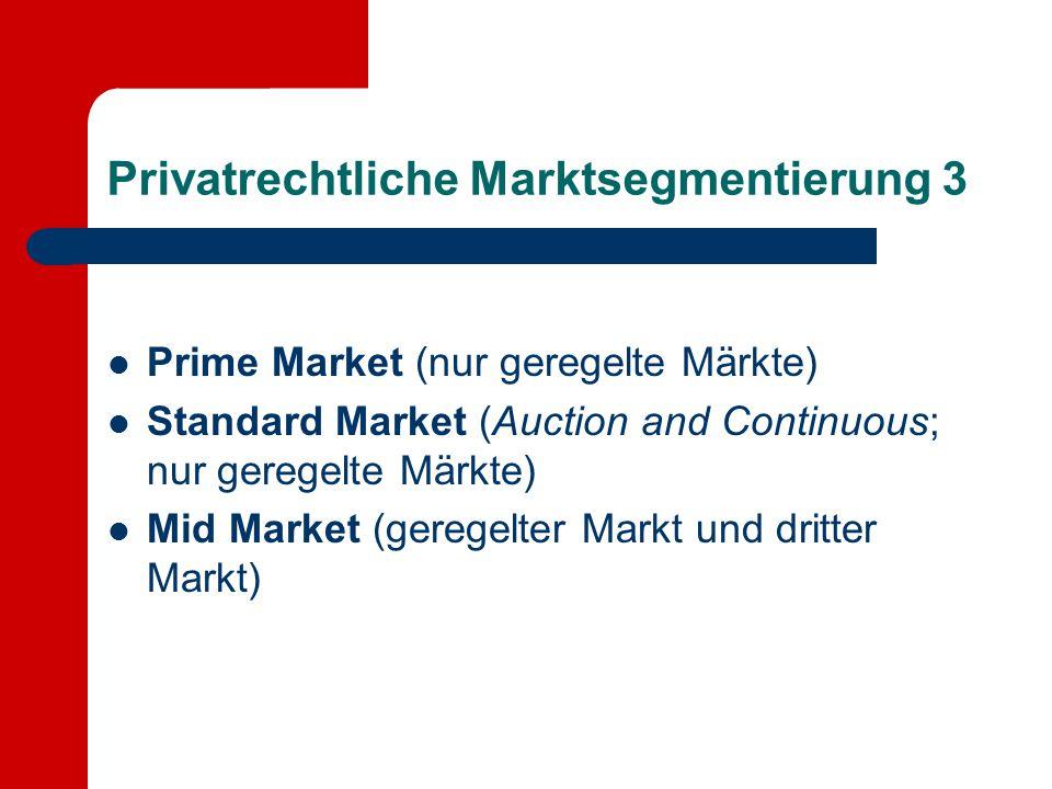 Privatrechtliche Marktsegmentierung 3 Prime Market (nur geregelte Märkte) Standard Market (Auction and Continuous; nur geregelte Märkte) Mid Market (g