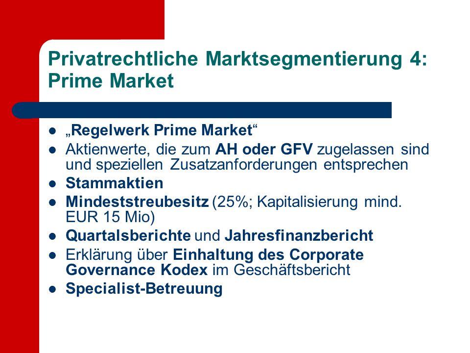 """Privatrechtliche Marktsegmentierung 4: Prime Market """"Regelwerk Prime Market"""" Aktienwerte, die zum AH oder GFV zugelassen sind und speziellen Zusatzanf"""