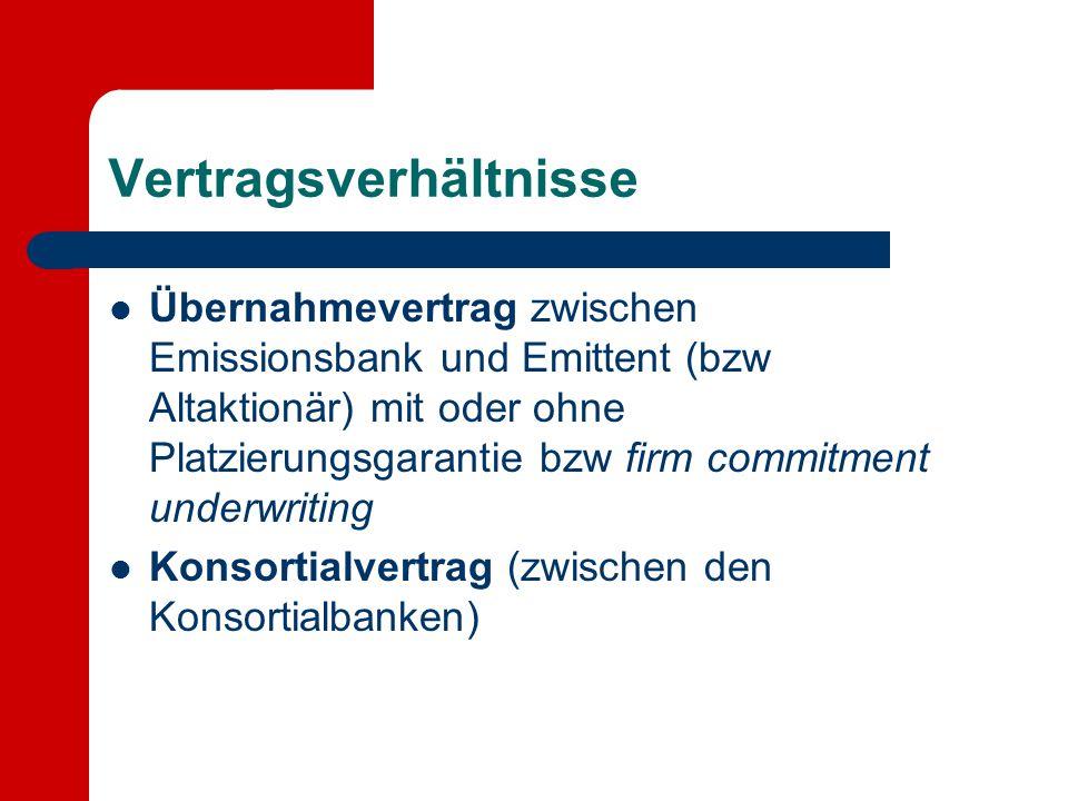 Vertragsverhältnisse Übernahmevertrag zwischen Emissionsbank und Emittent (bzw Altaktionär) mit oder ohne Platzierungsgarantie bzw firm commitment und