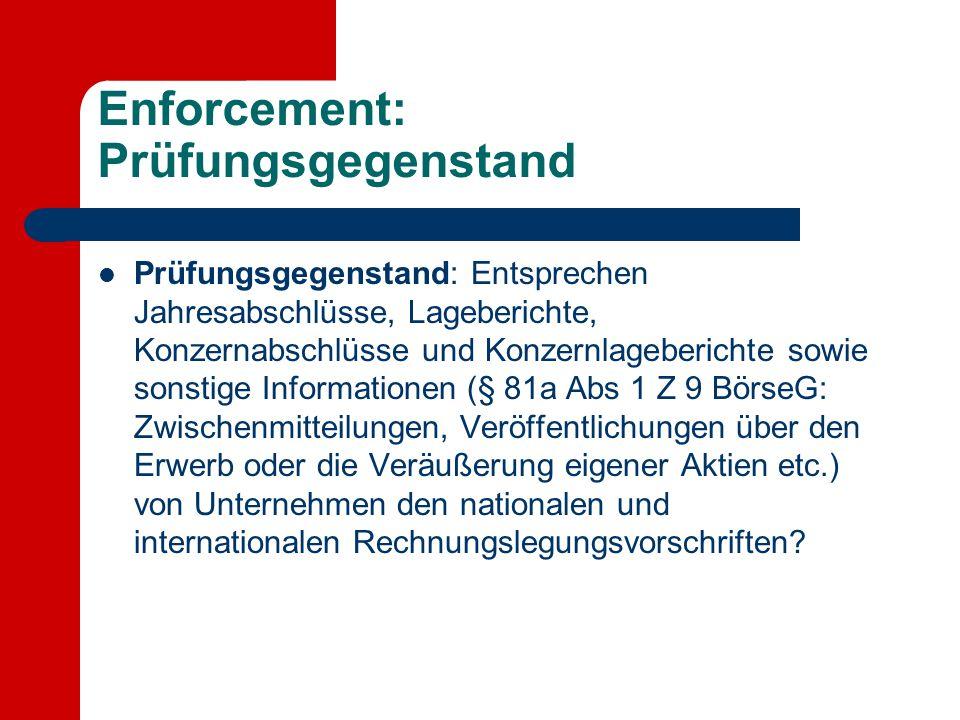 Enforcement: Prüfungsgegenstand Prüfungsgegenstand: Entsprechen Jahresabschlüsse, Lageberichte, Konzernabschlüsse und Konzernlageberichte sowie sonsti