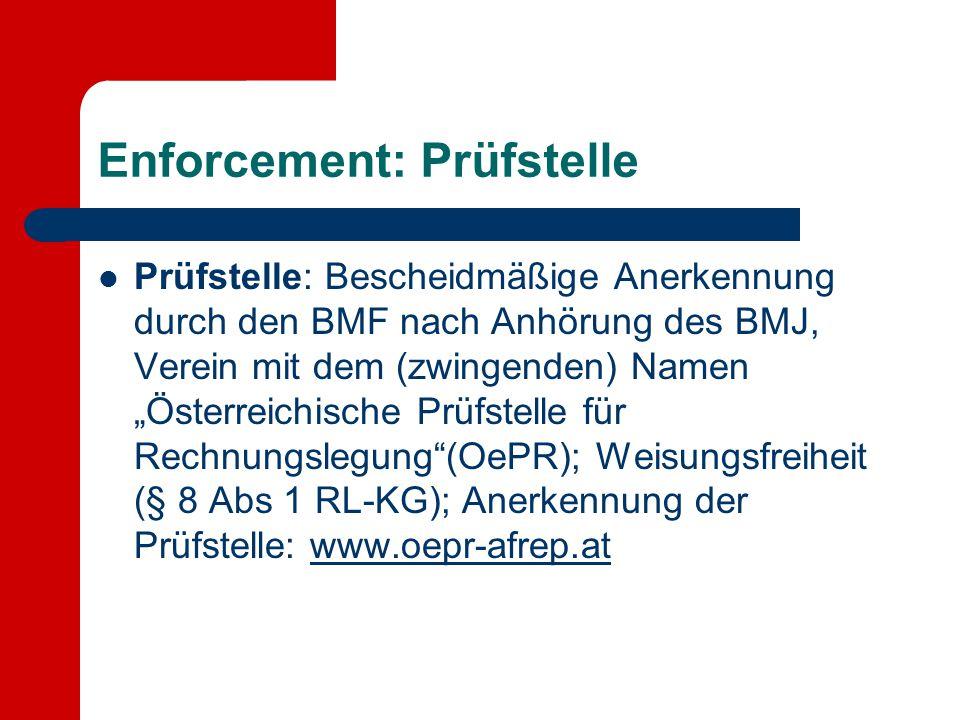 """Enforcement: Prüfstelle Prüfstelle: Bescheidmäßige Anerkennung durch den BMF nach Anhörung des BMJ, Verein mit dem (zwingenden) Namen """"Österreichische"""