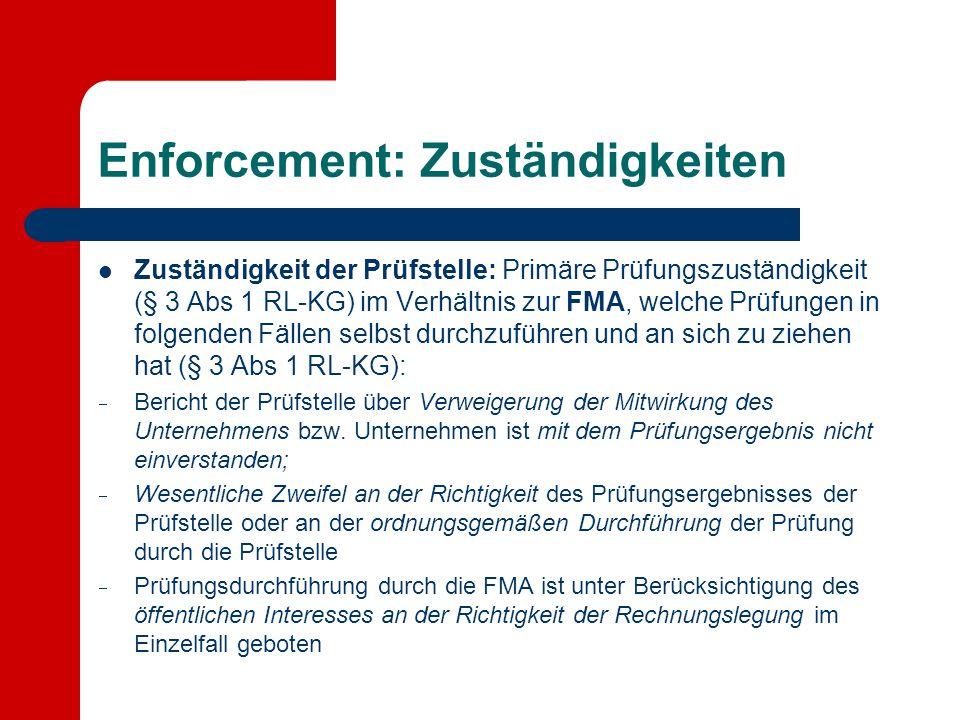 Enforcement: Zuständigkeiten Zuständigkeit der Prüfstelle: Primäre Prüfungszuständigkeit (§ 3 Abs 1 RL-KG) im Verhältnis zur FMA, welche Prüfungen in