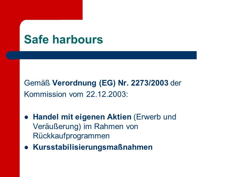 Safe harbours Gemäß Verordnung (EG) Nr. 2273/2003 der Kommission vom 22.12.2003: Handel mit eigenen Aktien (Erwerb und Veräußerung) im Rahmen von Rück