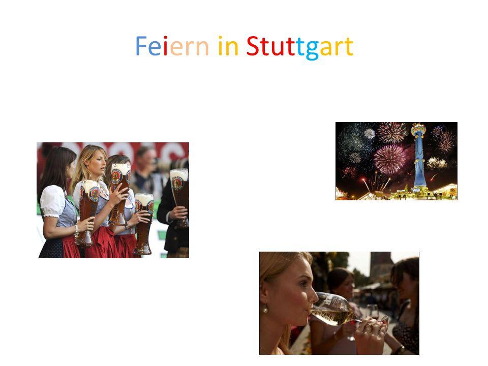 Feiern in Stuttgart Am oktober es gibt das biere und wein fest