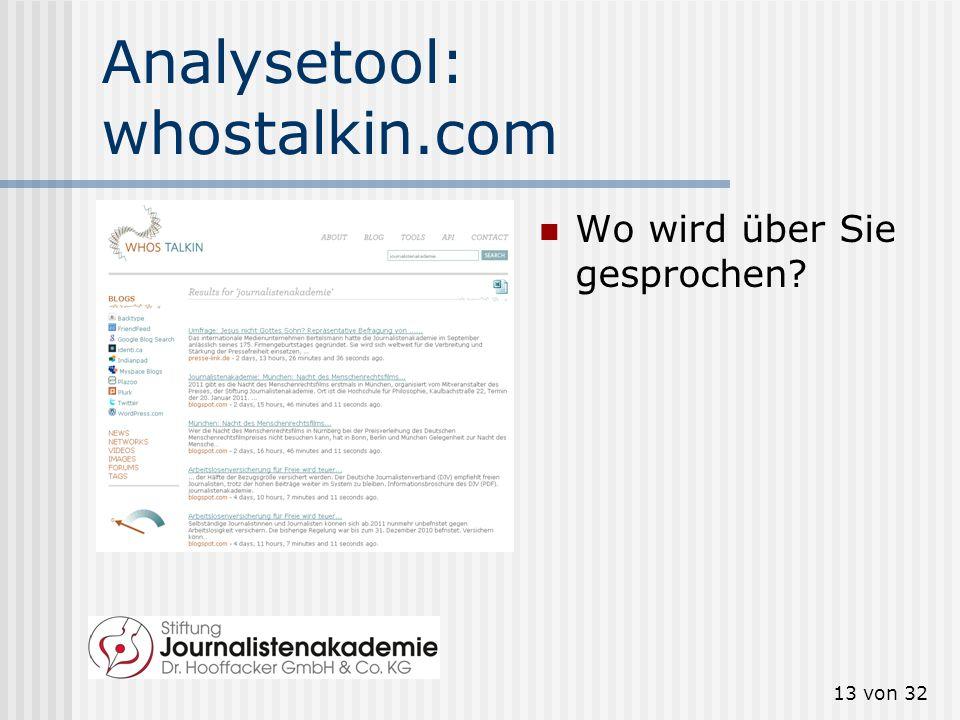 12 von 32 Analysetool: addictomatic.com Wo sind Sie aktiv