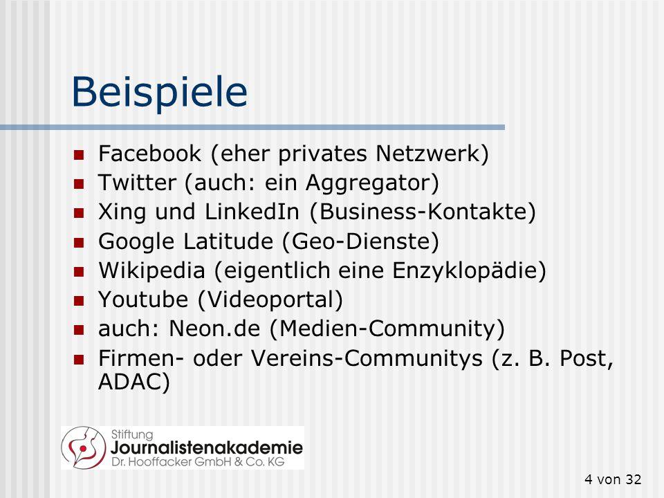 4 von 32 Beispiele Facebook (eher privates Netzwerk) Twitter (auch: ein Aggregator) Xing und LinkedIn (Business-Kontakte) Google Latitude (Geo-Dienste) Wikipedia (eigentlich eine Enzyklopädie) Youtube (Videoportal) auch: Neon.de (Medien-Community) Firmen- oder Vereins-Communitys (z.