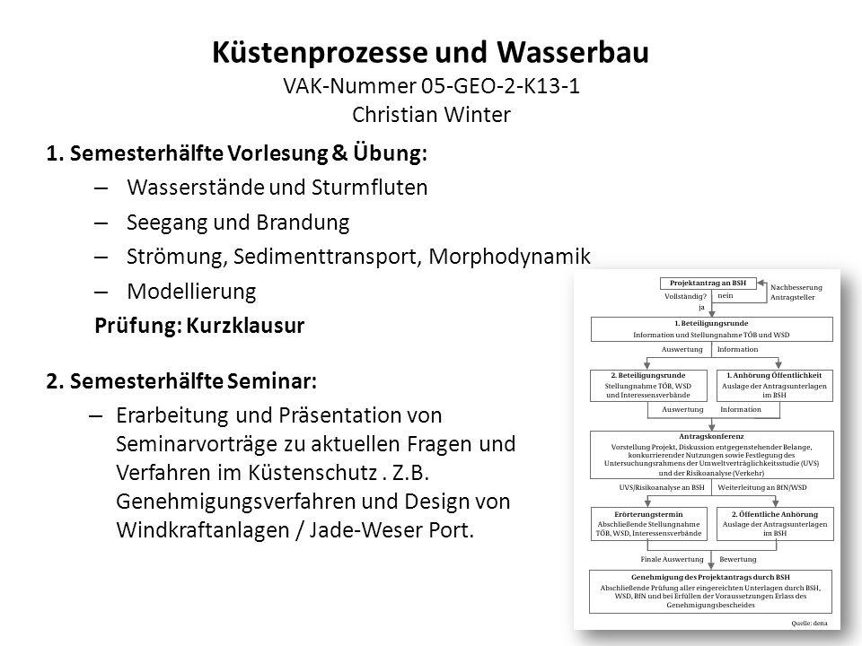Küstenprozesse und Wasserbau VAK-Nummer 05-GEO-2-K13-1 Christian Winter 1. Semesterhälfte Vorlesung & Übung: – Wasserstände und Sturmfluten – Seegang