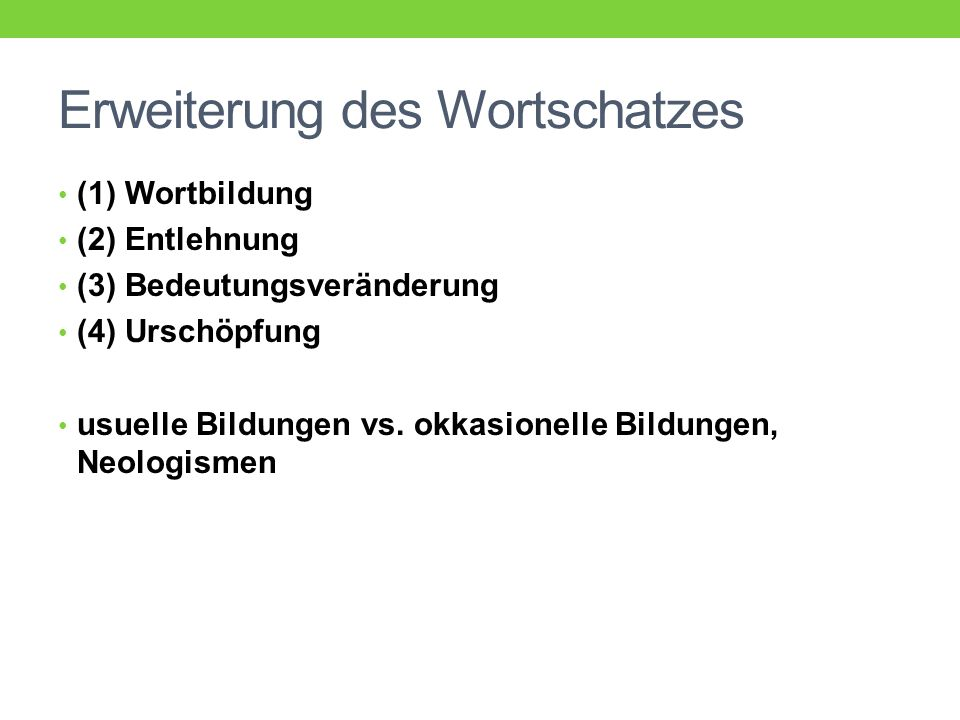 Wortbildungsbedeutung vs.