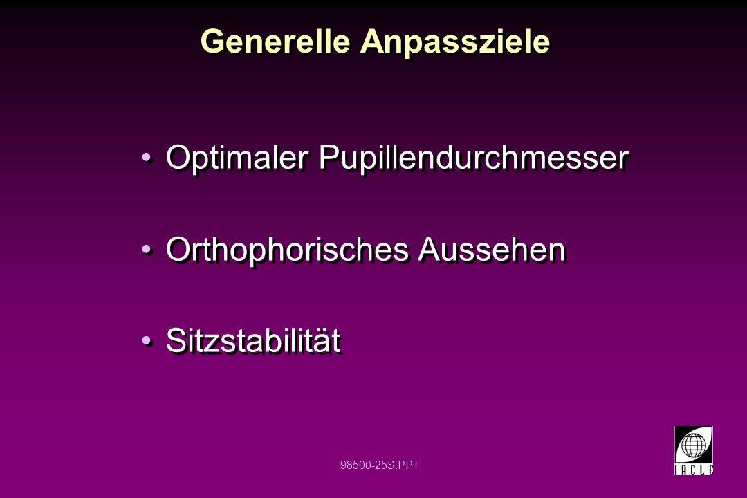 98500-25S.PPT Generelle Anpassziele Optimaler Pupillendurchmesser Orthophorisches Aussehen Sitzstabilität Optimaler Pupillendurchmesser Orthophorische