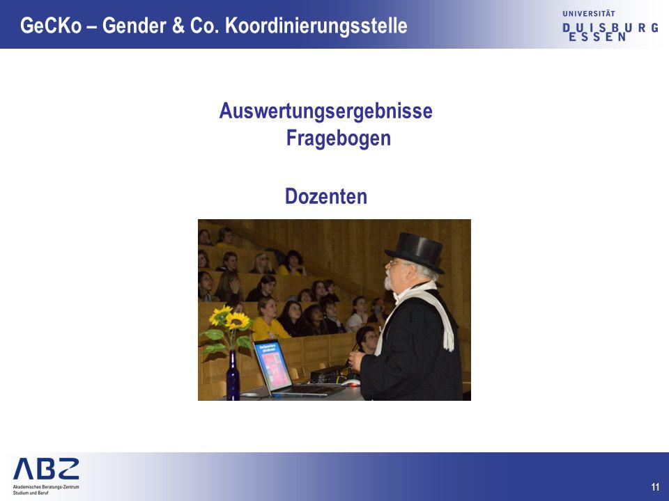 11 GeCKo – Gender & Co. Koordinierungsstelle Auswertungsergebnisse Fragebogen Dozenten