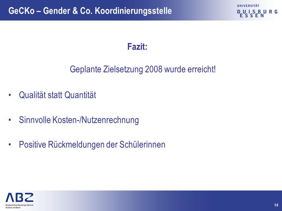 14 GeCKo – Gender & Co. Koordinierungsstelle Fazit: Geplante Zielsetzung 2008 wurde erreicht! Qualität statt Quantität Sinnvolle Kosten-/Nutzenrechnun